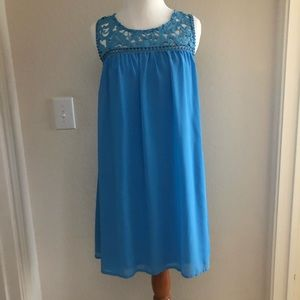 Lace detailed neckline baby blue dress *worn once*